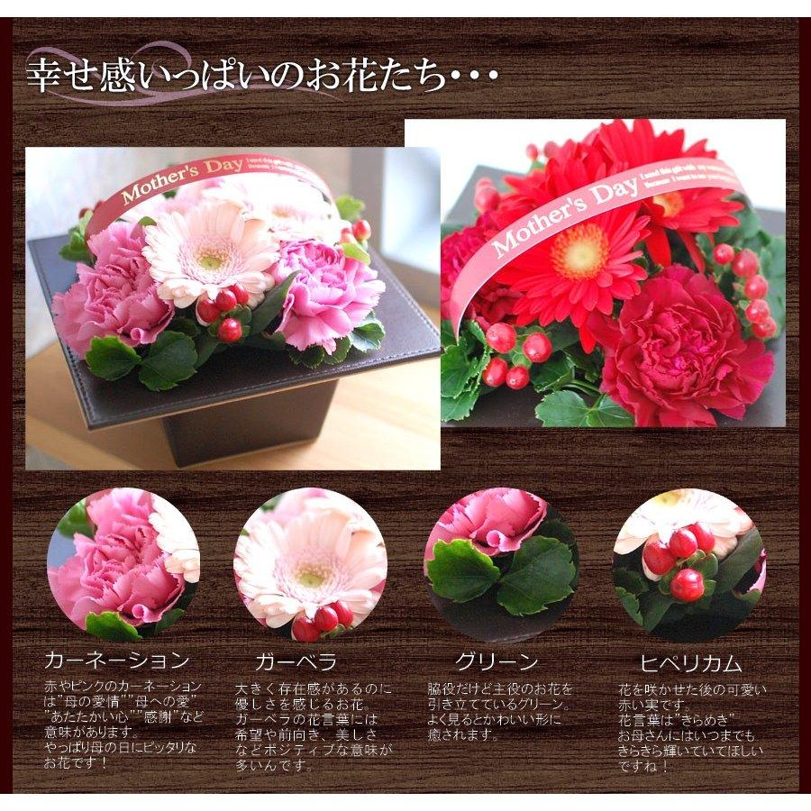 母の日ギフト 生花 コントラスト 母の日 プレゼント 花 フェイクレザー器 低価格 高級感