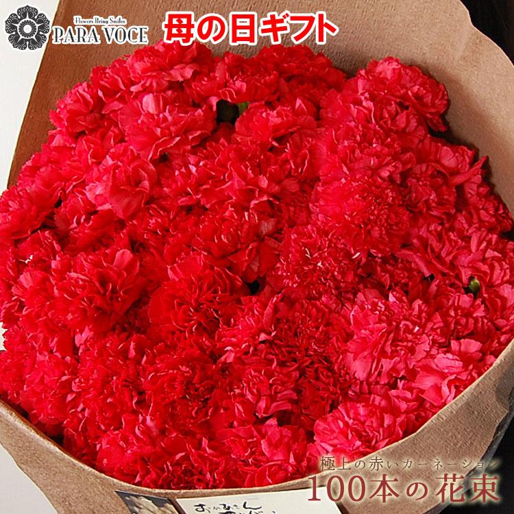 母の日ギフト 赤いカーネーションの花束100本 花 プレゼント 母の日限定